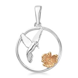 Platinum and Yellow Gold Overlay Sterling Silver Floral Bird Circle Pendant