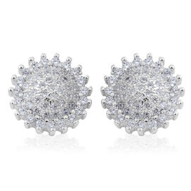 ELANZA Simulated White Diamond (Rnd) Stud Earrings (with Push Back) in Rhodium Plated Sterling Silver