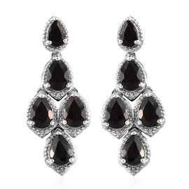 3.75 Ct Elite Shungite Cluster Drop Earrings in Platinum Plated Sterling Silver 6.41 Grams