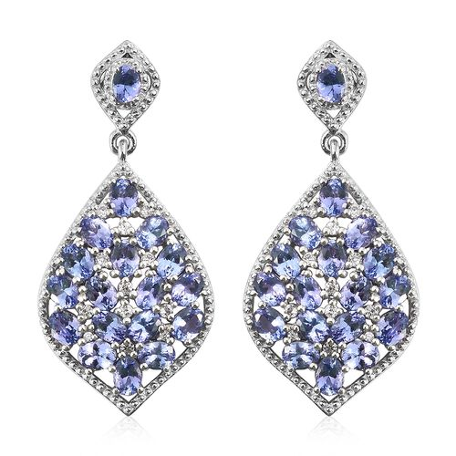 Tanzanite (Ovl), Natural Cambodian Zircon Earrings in Platinum Overlay Sterling Silver 7.500 Ct. Sil