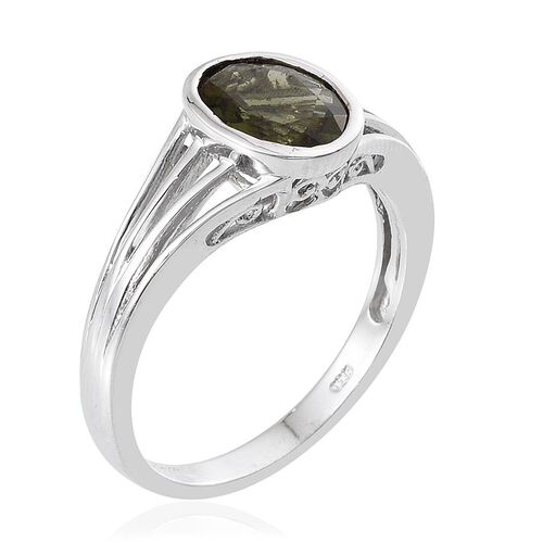 Bohemian Moldavite (Ovl) Solitaire Ring in Platinum Overlay Sterling Silver 2.000 Ct.