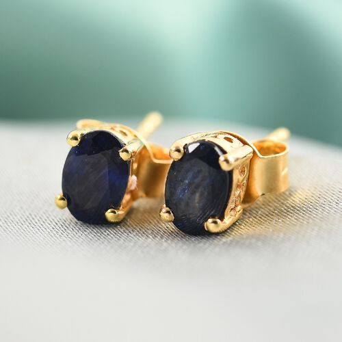 Fissure Filled Blue Sapphire Earring in 14K Gold Overlay Sterling Silver 0.23 ct  1.250  Ct.