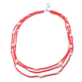 White Shell Pearl and Simulated Red Topaz 3-Row Necklace (Size 32 with 3 inch Extender) in Silver To
