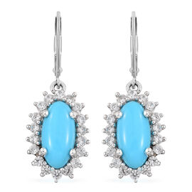 Arizona Sleeping Beauty Turquoise (Ovl), Natural Cambodian Zircon Lever Back Earrings in Platinum Overlay Sterling Silver 4.750 Ct.