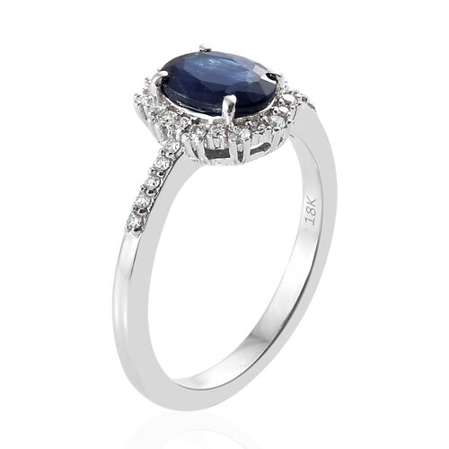 ILIANA 18K White Gold AAA Kanchanaburi Blue Sapphire (Ovl 1.55 Ct), Diamond (SI-G-H) Halo Ring 1.750 Ct.