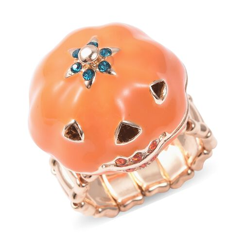 Blue and Orange Austrian Crystal Enamelled Pumpkin Halloween Ring in Gold Tone