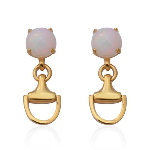 Ethiopian Welo Opal Snaffle Earrings (with Push Back) in Yellow Gold Overlay Sterling Silver 1.84 Ct