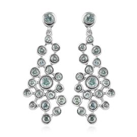 1.55 Ct Narsipatnam Alexandrite Dangle Earrings in Platinum Plated Sterling Silver 5.91 Grams