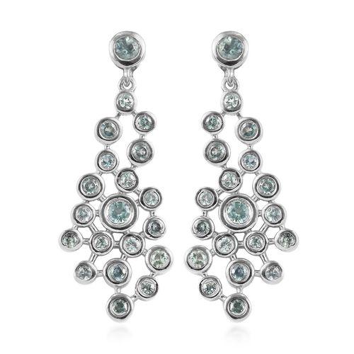 1.55 Ct Narsipatnam Alexandrite Dangle Earrings in Platinum Plated Sterling Silver 5.91 Grams