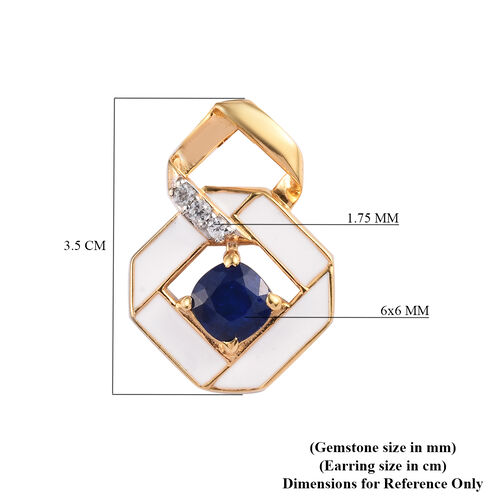 Tanzanian Blue Spinel and Natural Cambodian Zircon Earrings (with Push Back) in 14K Gold Overlay Sterling Silver 2.25 Ct, Silver wt 5.52 Gms