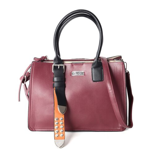 Limited Collection Burgundy Colour Tote Bag with Removable Shoulder Strap (Size 33.5x23.5x17x14.5 Cm)