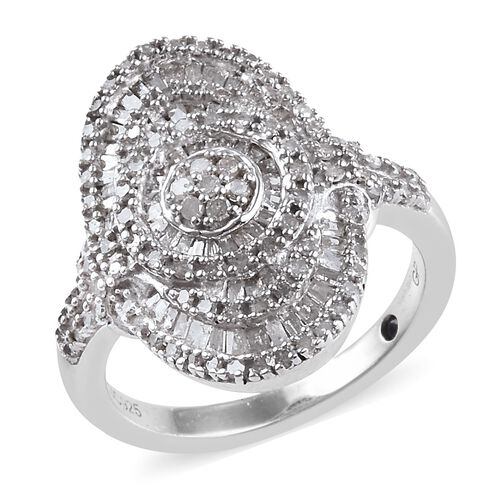 GP 0.78 Ct Diamond and Blue Sapphire Cluster Ring in Platinum Plated Sterling Silver