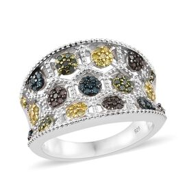0.75 Carat Multi Colour Diamond Rainbow Inspired Cluster Ring in Platinum Plated Silver 8 Grams