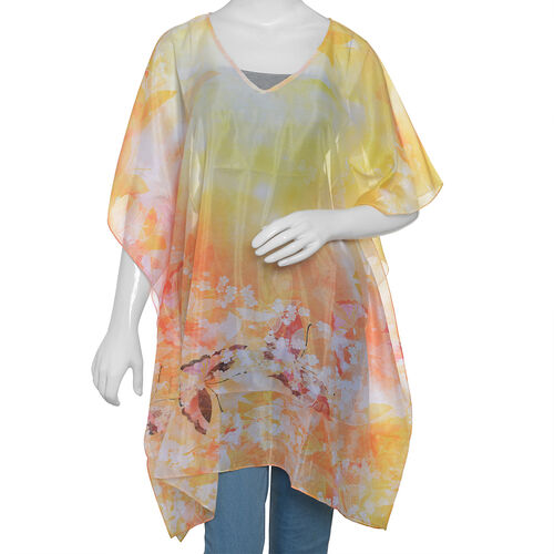 New Season- Yellow, Orange and Multi Colour Butterfly Printed Kaftan (Size 90x65 Cm)