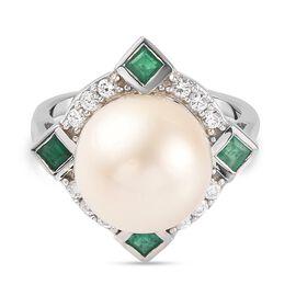 Royal Bali Collection- Golden South Sea Pearl, Kagem Zambian Emerald and Natural Cambodian Zircon Ri