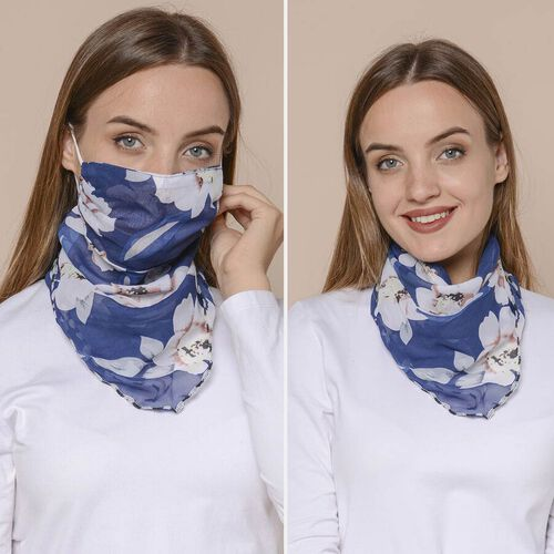 2 in 1 Flower Pattern Chiffon Soft Feel Scarf and Protective Face Covering (Size 45x45 Cm) - Pink & Navy