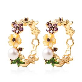 Jardin Collection - Yellow Mother of Pearl, Freshwater Pearl and Multi Gemstone Hoop Earrings (with