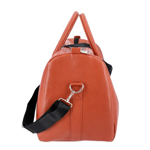 Brick Colour Travel Duffle Bag with Detachable and Adjustable Shoulder Strap (Size 43x17x28 Cm)