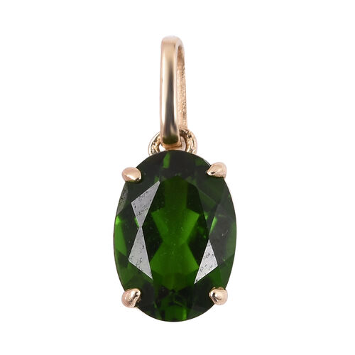 One Time Mega Deal-9K Yellow Gold Russian Diopside (Ovl 8x6) Pendant