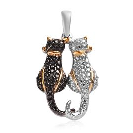 Black and White Diamond Twin Cat Pendant in Black Rhodium and Gold Plated Silver