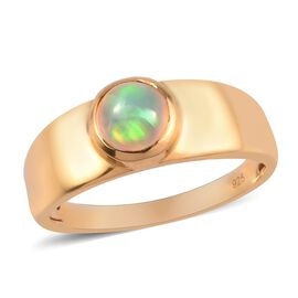 Ethiopian Welo Opal Band Ring in 14K Gold Overlay Sterling Silver
