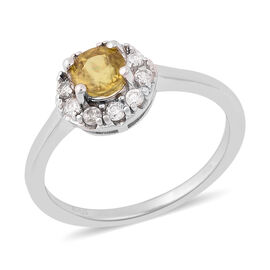 1.15 Ct AA Sava Sphene and Zircon Halo Ring in Rhodium Plated Sterling Silver
