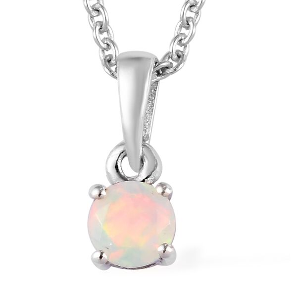 2 Piece Set - Ethiopian Welo Opal Pendant with Chain (Size 18) and Stud Earrings (with Push Back) in Platinum Overlay Sterling Silver 1.00 Ct.
