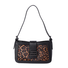 100% Genuine Leather Leopard Pattern Hobo Bag (26x7x15cm) with Clasp Closure - Black