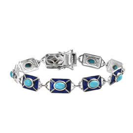 Arizona Sleeping Beauty Turquoise Bracelet (Size 7) in Platinum Overlay Sterling Silver 4.06 Ct, Sil