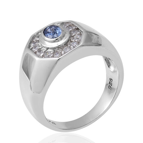 Royal Ceylon Sapphire and Natural Cambodian Zircon Ring in Rhodium Overlay Sterling Silver 1.14 Ct, Silver wt 10.37 Gms