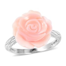 Jardin Collection - Pink Mother of Pearl Rose Ring in Rhodium Overlay Sterling Silver