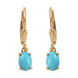 Arizona Sleeping Beauty Turquoise (Ovl) Earrings in 14K Gold Overlay Sterling Silver 1.28 Ct.