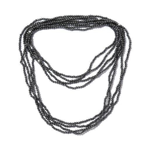 Black Hematite (Rnd) Diamond Cut Beads Necklace (Size 70) 148.500 Ct.