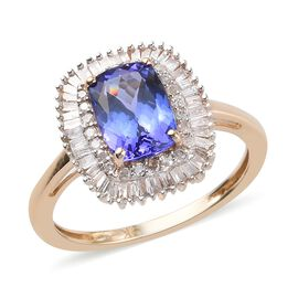 9K Yellow Gold Tanzanite and White Diamond Halo Ring 2.05 Ct.