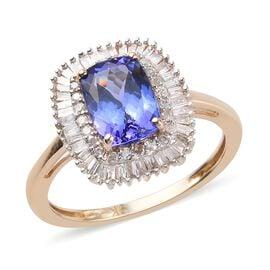 9K Yellow Gold Tanzanite and Diamond Halo Ring 2.05 Ct.