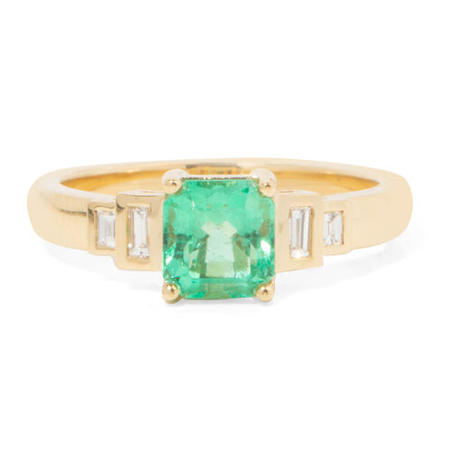 ILIANA 18K Yellow Gold AAA Boyaca Colombian Emerald (Oct) Diamond (SI/G-H) Ring 1.210 Ct.