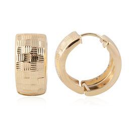 Super Auction- JCK Vegas Close Out- 9K Yellow Gold Diamond Cut Chequered Hoop Earrings Gold Weight 3