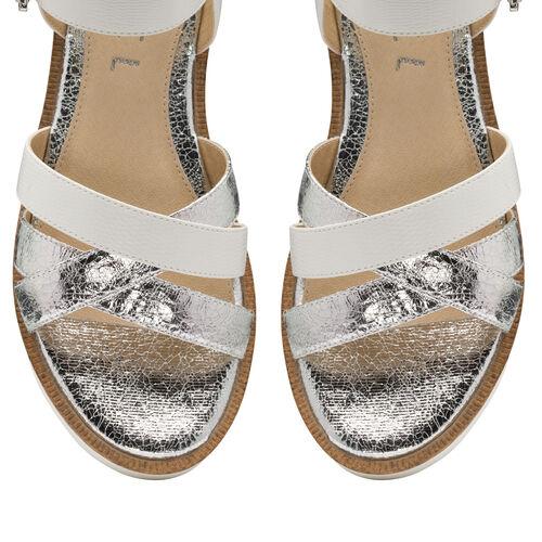 Ravel Monto Flatform Sandals (Size 7) - White/Silver