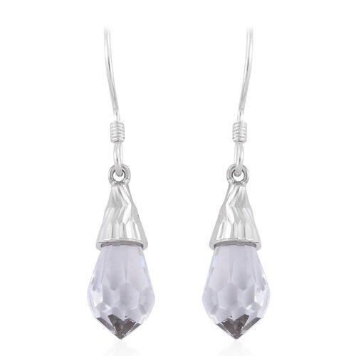 J Francis Crystal from Swarovski - White Crystal Drop Hook Earrings in Sterling Silver
