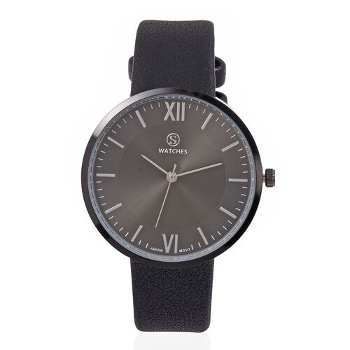 STRADA Japanese Movement Water Resistant Black Colour Sunshine Dial Watch with Black Strap