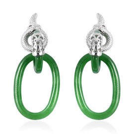 26.08 Ct Green Jade and Mozambique Garnet Link Dangle Earrings in Rhodium Plated Sterling Silver