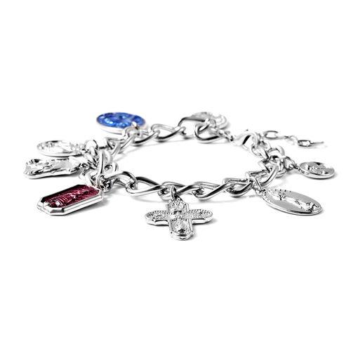 Charms De Memoire - Multi-Charm Enamelled Bracelet (Size 7.5 with 1.5 inch Extender) in Silver Tone