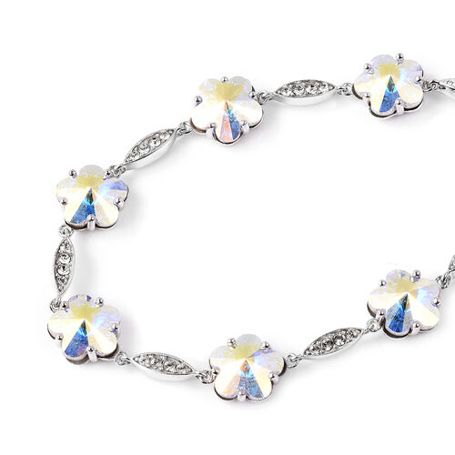 J Francis - Crystal from Swarovski White Crystal (Rnd), Simulated Mystic White Crystal Floral Bracelet (Size 7 with 1 inch Extender) in Rhodium Overlay Sterling Silver