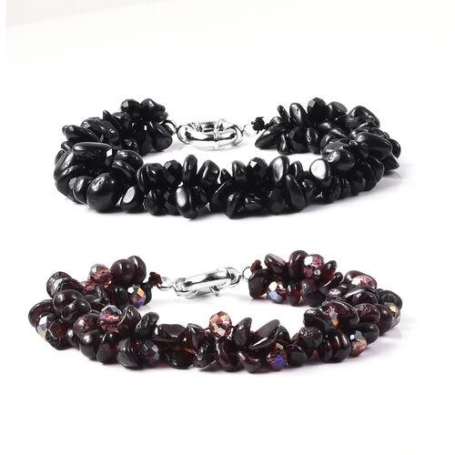 Set of 2 - Boi Ploi Black Spinel, Mozambique Garnet, Black and Magic Colour Beads Bracelet (Size 7.5