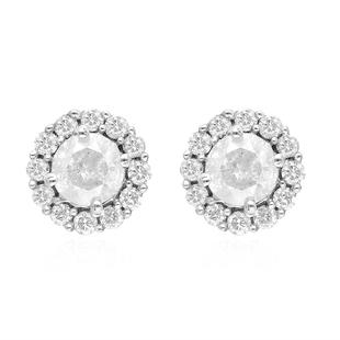 14K White Gold SGL Certified Diamond (I2-I3/G-H) Stud Earrings (with Screw Back) 1.50 Ct.