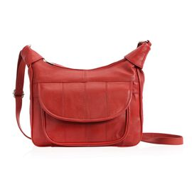100% Genuine Leather Red Colour Shoulder Bag with Multi Pocket (Size 28.7x20.9x6 Cm)