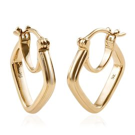 Super Auction- Designer Inspired 9K Yellow Gold Hoop Earrings.Gold Wt 3.90 Gms