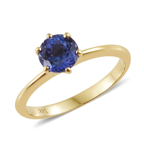 14K Yellow Gold AA Tanzanite (Rnd) Solitaire Ring 0.850 Ct.
