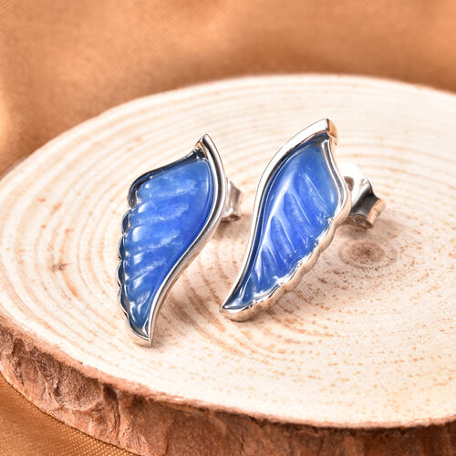 Isabella Liu Angel Wing Collection - Carved Blue Jade Earrings (with Push Back) in Rhodium Overlay Sterling Silver 6.25 Ct.