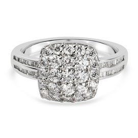 RHAPSODY 950 Platinum IGI Certified Diamond (VS/E-F) Cluster Ring 1.04 Ct, Platinum Wt. 5.03 Gms